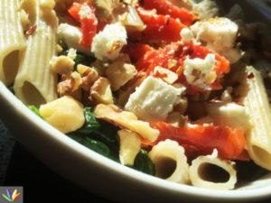 salmon pasta spinach super bowl