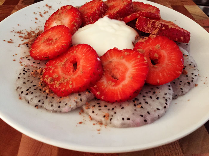dragon fruit strawberry breakfast